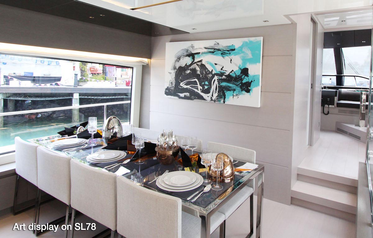 Art display on Sanlorenzo SL78